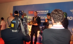 Getting the 2009 WSBK championship trophy at the Banquet