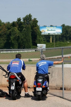 Halvie and I checking out the last corner - Road Atlanta