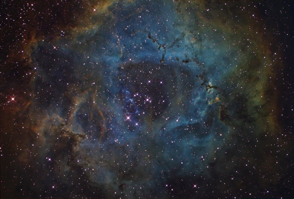 Rosette Nebula in Narrow band (Hubble Palette) Rosette Nebula in Narrow band (Hubble Palette)